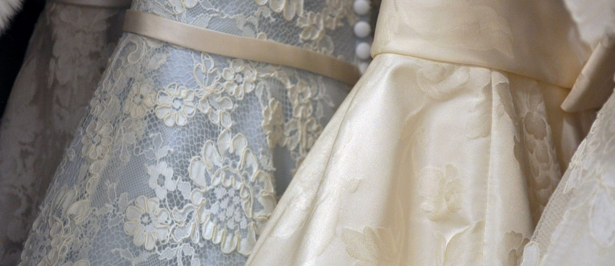 up close photo of wedding dresses